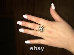 Vintage David Yurman 18k Gold Sterling Silver Diamond Heart Dome Ring Size7-7.5