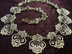 Vintage Design Taxco Mexican 925 Sterling Silver Amethyst Beaded Necklace Mexico