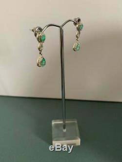 Vintage Emerald & Diamond 14k White Gold Over 2.80Ct Women Drop Dangle Earrings