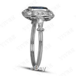 Vintage Engagement Wedding Ring 14k White Gold Finish Sapphire & Diamond 1.30ct
