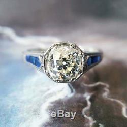 Vintage Engagement Wedding Ring 14k White Gold Over 2Ct Round Diamond & Sapphire