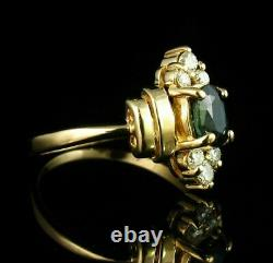 Vintage Estate 1. Ct Oval Blue Sapphire Diamond 14k Yellow Gold Over Ring