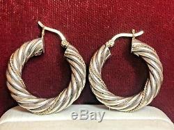 Vintage Estate 14k Gold & Sterling Silver Hoop Earrings