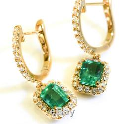 Vintage & Estate Colombian Emerald Earrings 18k Yellow Gold Over And Diamond