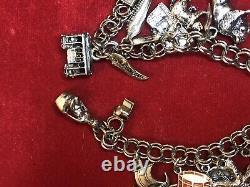 Vintage Estate Sterling Silver Charm Bracelet Loaded! 16 Charms 3-d 45 Grams