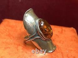 Vintage Estate Sterling Silver Genuine Amber Ring Finger Ring Israel Signed