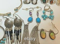 Vintage Estate Sterling Silver Lot Southwestern Jewelry Earrings Ring Bracelet
