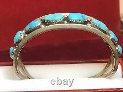 Vintage Estate Sterling Silver Native American Cuff Bracelet Turquoise Signed Hn