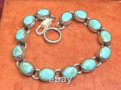 Vintage Estate Sterling Silver Turquoise Bracelet Made In Mexico Gemstone