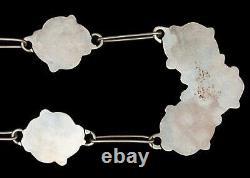 Vintage Flower Mother Of Pearl Turquoise Sterling Silver Necklace Navajo