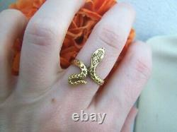 Vintage Gold Plated Solid Sterling Silver Snake Cobra Serpent Ring Size M 6 Rare