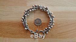 Vintage Heavy Berry Bracelet In Sterling 925 Silver 8.5 85g Chunky Peppercorn