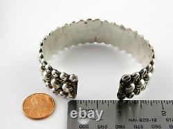 Vintage Heavy Taxco Mexico Sterling Silver Cuff Bracelet Two Tone Spheres 925