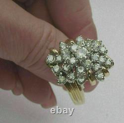 Vintage & Huge 3.23 Carat Diamond 14K Yellow Gold Over Cluster Ring For Women's