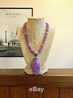 Vintage Jay King Purple Stone Sugilite Sterling Silver Pendant Necklace 925 DTR
