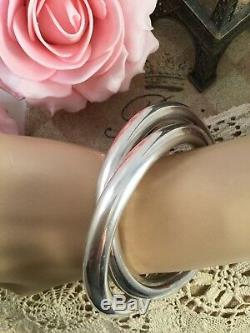 Vintage Jewellery Entwined large Sterling Silver Golf Bangles Antique Jewelry