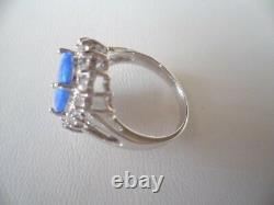 Vintage Jewellery Sterling Silver Opal Ring White Sapphires Antique Jewelry