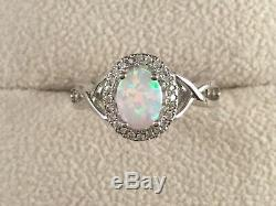 Vintage Jewellery Sterling Silver Ring Opal and White Sapphires Antique Jewelry