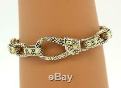 Vintage John Hardy Textured Link Bracelet 18K Yellow Gold Sterling Silver 7.75