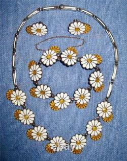 Vintage MARGOT de TAXCO Enamel Sterling DAISY NECKLACE Bracelet EARRINGS Parure