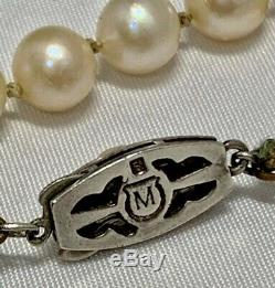 Vintage MIKIMOTO Sterling Silver Clasp 6.5mm-9.5mm Akoya Pearl Necklace 15
