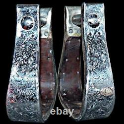 Vintage Marked Engraved Diablo Sterling Silver Western Saddle Stirrups 2 in wide
