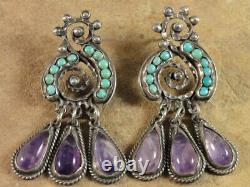 Vintage Mexican MATL Matilde Poulat Sterling Silver Turquoise Amethyst Earrings
