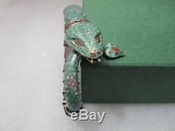 Vintage Mexico Sterling Silver Green Enamel Snake articulated Bracelet Signed