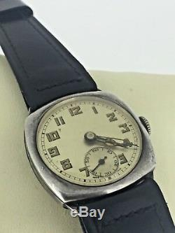 Vintage Military Cyma Swiss Mens' Watch. C 1920's. Sterling Silver Cushion Case