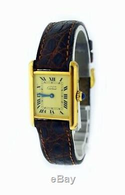 Vintage Must de Cartier Tank 20mm 925 Sterling Silver Vermeil Quartz Watch With