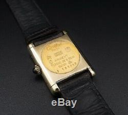 Vintage Must de Cartier Vermeil Tank Original Leather Strap Rare Dial 20mm W337