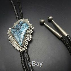 Vintage NAVAJO Hand Stamped Sterling Silver GOLD CANYON TURQUOISE BOLO Tie