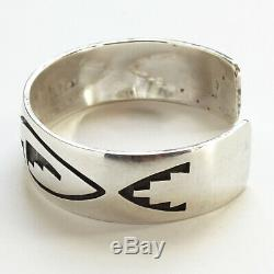 Vintage Native American Hopi Sterling Silver Overlay Cuff Bracelet 33 gr Signed