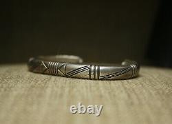 Vintage Native American Navajo Stamped Sterling Silver Cuff Bracelet