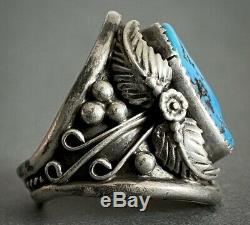 Vintage Native American Navajo Sterling Silver Large Kingman Turquoise Dome Ring