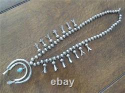 Vintage Native American Navajo Sterling Silver Squash Blossom Necklace