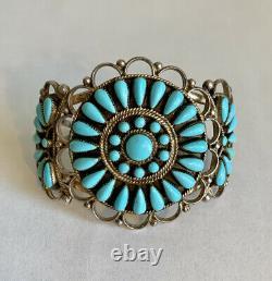Vintage Native American Navajo Sterling Silver Turquoise Cluster Cuff Bracelet