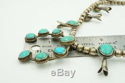 Vintage Native American Navajo Sterling Silver Turquoise Squash Blossom Necklace