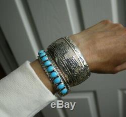 Vintage Native American Navajo Storyteller Sterling Silver Cuff Bracelet