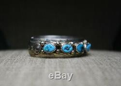 Vintage Native American Navajo Turquoise Coral Sterling Cuff Bracelet Large Size