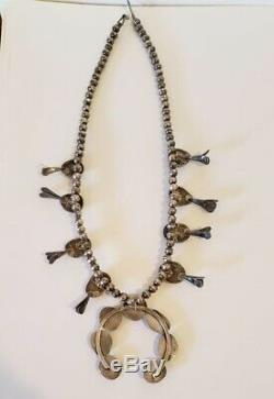 Vintage Native American Sterling Silver Turquoise Squash Blossom Necklace