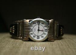 Vintage Native American Zuni Micro Inlay Sterling Silver Watch Cuff Bracelet