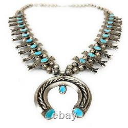 Vintage Navajo 1950's Sterling Silver Royston Turquoise Squash Blossom Necklace