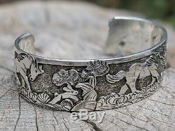 Vintage Navajo Cuff Bracelet Story Teller by Lloyd Becenti Native Am Horse Art