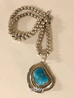 Vintage Navajo Etsitty Sterling Silver Turquoise Pendant Ball Bead Necklace 925