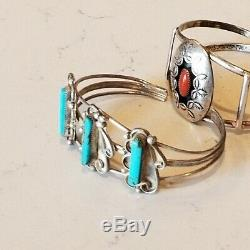 Vintage Navajo LSO Sterling Silver 925 Turquoise Coral Cuff SW Bracelets Lot