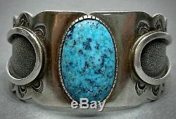 Vintage Navajo Native American Sterling Silver Blue Gem Turquoise Cuff Bracelet