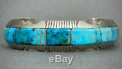 Vintage Navajo Native American Sterling Silver Turquoise Inlay Cuff Bracelet