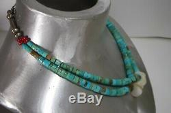 Vintage Navajo Old Pawn Turquoise Heishi Sterling Mop 2 Strand Jacla Necklace