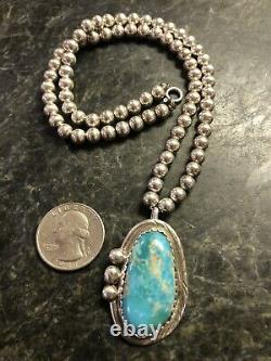 Vintage Navajo Roy Buck Sterling Silver Turquoise Pendant 6mm Bead Necklace 925